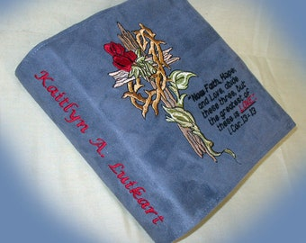 Book cover, Bible cover, Embroidered Bible cover, Man's Bible cover, Custom Bible cover, Religious cover, for women,book accessories
