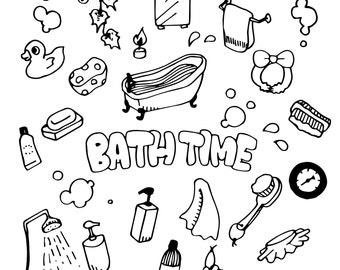 Bath Time illustration Pack (Elements, handdrawing)