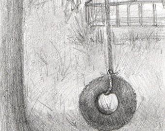 Tire Swing--original pencil drawing