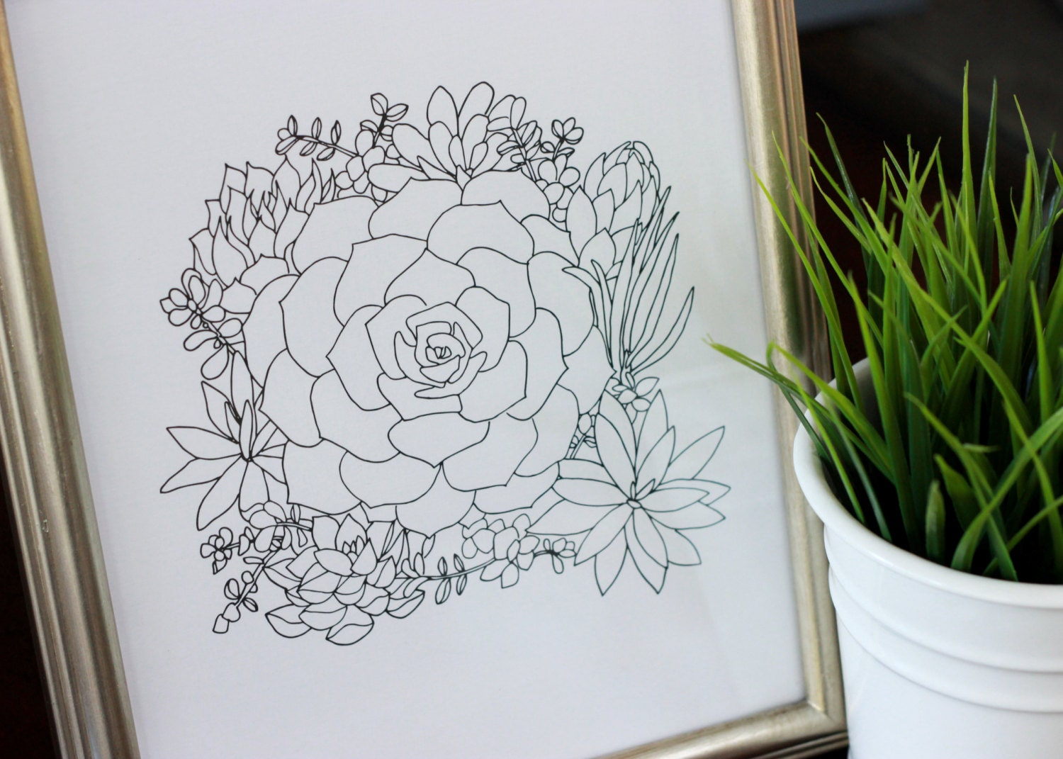 Simple Floral Line Art : Succulent bouquet line drawing reproduction from original ink