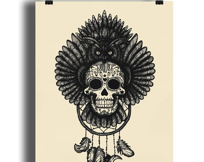 DREAMCATCHER OWL Ink Line Drawing Illustration Original Art Print. Available in sizes A4 - A1. Printed on 220gsm semi-gloss paper.