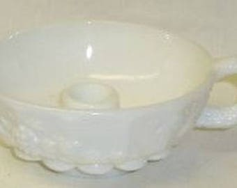 Westmoreland Milk Glass PANELED GRAPE COLONIAL Handled Candle Holder