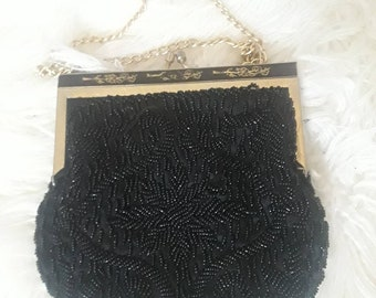 Vintage 50s 60s Black Beaded Evening Purse By Rimco Of Califirnia