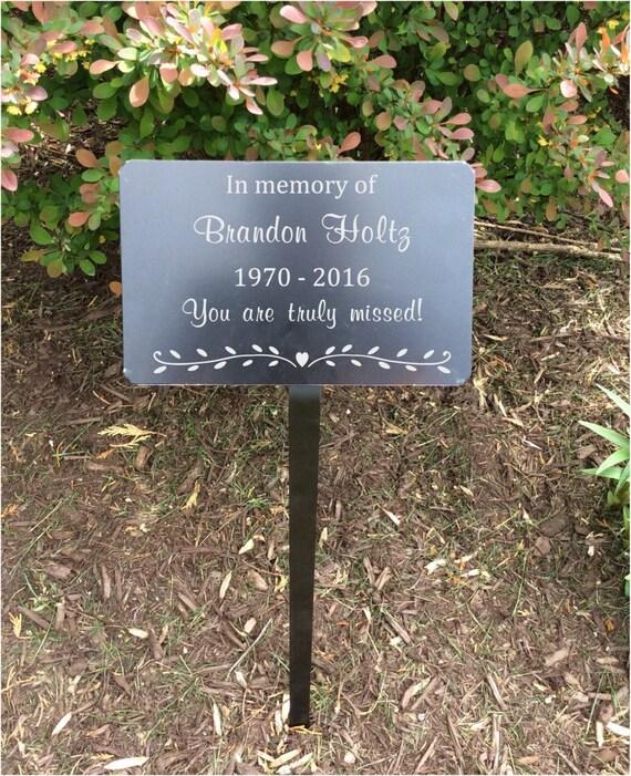 garden memorial stake  memorial plaque  metal plaques  name plates  name tag  memorial tree