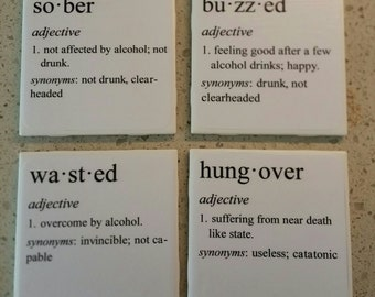 Coasters - Sober, Buzzed, Wasted, Hungover