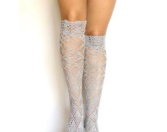 Lacy over the knee socks crochet knee high socks gray boot toppers socks tight lacy leg warmers yoga socks crochet boho wedding garter white