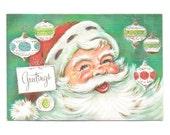 Vintage Christmas Card 1950s Santa Claus Greeting Ornaments Glitter