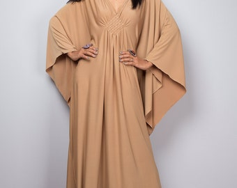 Kaftan, Beige dress, Light brown kaftan, Maxi Dress , Evening Dress, Loose fit dress: Funky Elegant Collection No.1s