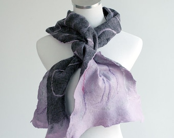 Handfelted wool and silk super light, soft scarf in lilac purple and dark gray