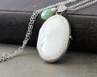 Sterling Silver Locket Necklace, October Birthstone Locket, Opal Locket Pendant, Photo Locket, Large Silver Locket, Oval Locket. Push Gift
