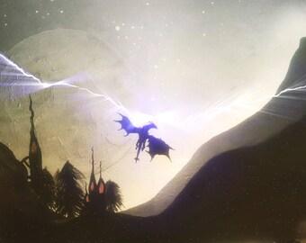Skyrim dragon painting, digital download.