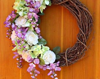 Purple Wisteria Wreath