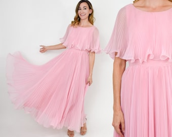 70s Pink Maxi Dress | Pink Pleated Evening Dress | Miss Elliette California | Medium
