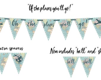 OH THE PLACES You'll Go! (Vintage Map) Printable Party Banner and Decoration - Retirement, Nursery, Travel, ?, Banner - Instant Download