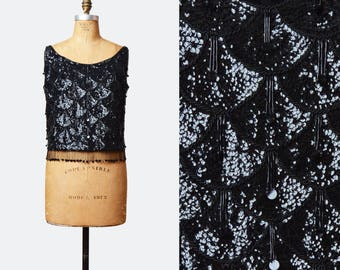 Vintage 60s GoGo Sequin Beaded Blouse Top / 1960s High Waisted Sleeveless Top Medium Large m l
