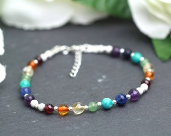 Chakra Bracelet, Rainbow Bracelet, Yoga Bracelet, 7 Chakras Bracelet, Chakra Gemstone Bracelet, Healing Bracelet, Silver Chakra Bracelet