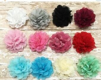 "ON SALE White Lace Flower, Ruffled Chiffon,  2.25-2.5"", Craft Supplies, Baby Headbands, Infant Headband, Hair bows, DIY Weddings"