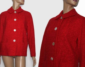 Vintage 1950s Coat//Designer Betty Rose// Red// Wool// Satin Lined//Red Jacket// Red Sweater//50s Coat//