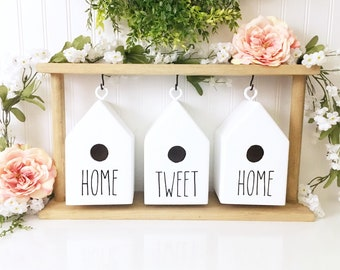 rae dunn inspired birdhouse set with stand | birdhouse decor | spring decor | home sweet home | Wood Birdhouse Decor | Wood Bird House