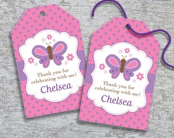 Personalized Butterfly Party Favor Tags – DIY Printable – Hang Tags (Digital File)