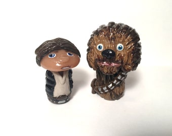 OOAK Star Wars Inspired Han Solo // Chewbacca Chewie Character Pop Culture 'Shroom Figurines - Handpainted Polymer Clay Sculpture
