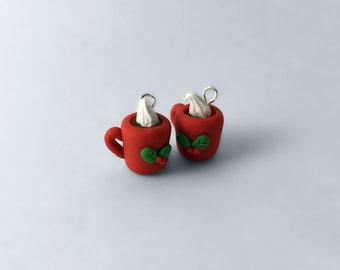 Hot Chocolate Earrings, Christmas Earrings, Clay Earrings, Peppermint Earrings, Holiday Earrings,