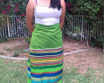 Wrap skirt,green,stripe,long,skirt