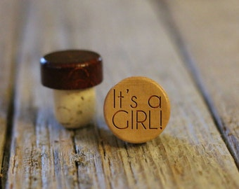 BEST PRICE ** Lot of Personalized Custom Wine Stopper, Laser Engraved Cork Bottle Topper, Reusable Rustic Party Favor --WS-L-Girl