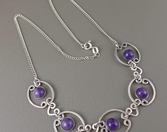 Sterling Silver Amethyst Necklace, Vintage Sterling Silver Amethyst Choker Necklace