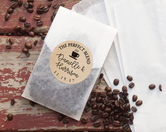 Coffee Wedding Favor Bags, Coated Grease Resistant Bags, Personalized Kraft Paper Stickers,  Party Favor, Bridal Shower, The Perfect Blend