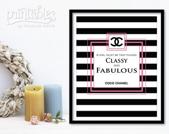 Coco Chanel Decor, Chanel Wall Art Pink, Classy and Fabulous Chanel Quote, Digital Coco Chanel Print, Printable Chanel Fashion Illustration