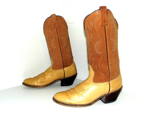 B tan size Cowboy brown light tone brand 10 Acme Boots two 5 in Vintage a ZqO10wAB