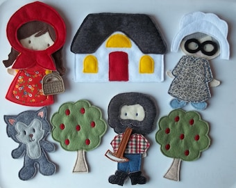 Felt Board Little Red Riding Hood Set Busy Quiet Book Red Riding Hood, Granny, Woodsman, Wolf, Outfit, House, Tree Forest and accessories