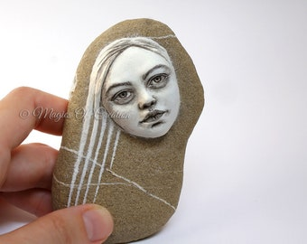 Original sculpture as unique art paperweight. Girl portrait on stone, unique desk decor and gift idea for fantasy and fine arts lovers