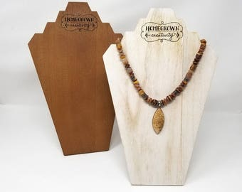 Custom Wood Necklace Jewelry Display Bust Logo Personalized Text | Branding Craft Show Displays Packaging | Laser Engraved