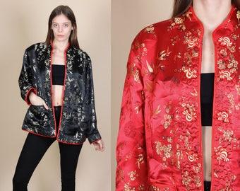 Vintage Reversible Chinese Brocade Jacket - Large // 90s Red Black Floral Jacquard Asian Blazer