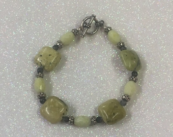 Sterling Silver 925 Togle Clasp Beaded Yellow Green Gemstone Bracelet