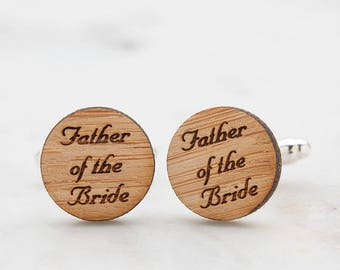 Father of the Bride Cufflinks - Father of the Groom Cufflinks - Wood Cufflinks - Eco Friendly Cufflinks - Wedding Cufflinks - Rustic Style