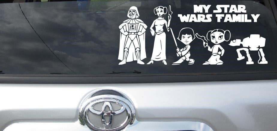Star Wars Stick Figure Family My Star Wars Family Vehicle Car - Star wars family car decals