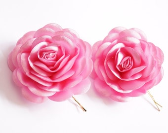 Pink Satin,  pink Flower, Wedding Bobby Pin
