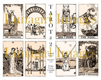 Sepia VINTAGE TAROT digital collage sheet, Victorian antique images art, cards occult magical fortune gypsy ryder alchemy witches DOWNLOAD