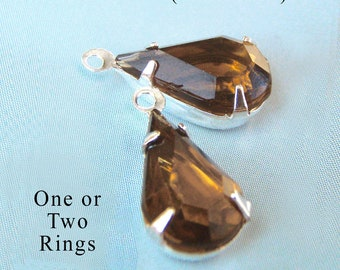 CLEARANCE Sale - Smoky topaz vintage glass teardrops - 13x7mm rhinestone earring drops or slender pendants - one pair