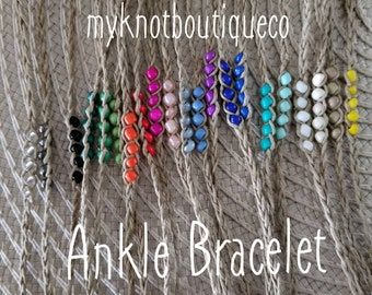 NEW! Handmade ANKLE Bracelet Beaded Hemp Wish, you choose your color!