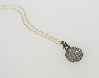 Pave Diamond Disc Necklace, Sterling Silver, Gold Filled, Mixed Metals, Genuine Diamonds,