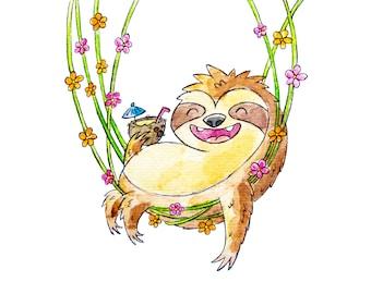 Hammock Sloth 8x10 Print