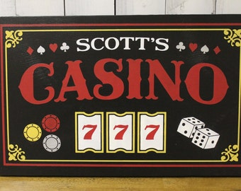 Casino Sign/Personalized/Man Cave/Christmas Gift/YOU choose Colors/Game Room/Male Gift/Wood Sign/Hand Painted/Wood Sign/Cards/Dice/Slots