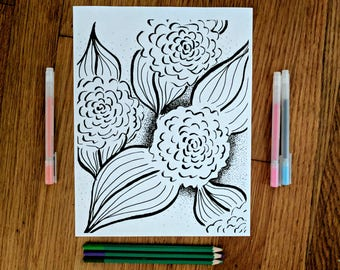 Sweet Flower Coloring Pages - 2 Styles