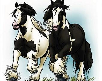 Irishs cobs galloping