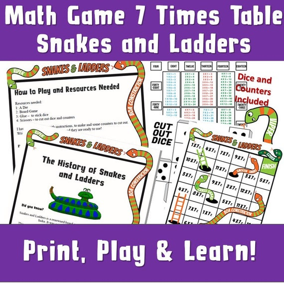 Multiplication Games Printable/ Snakes and Ladders Printable