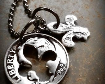 1998 20th Birthday Dime Fleur de lis Necklace 20th Anniversary 20th Birthday Gift Coin Jewelry made from a 1998 Dime +